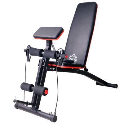 HOMCOM Banco Mancuernas Plegable Inclinable Banco de Pesas Musculación Multifuncional para Entrenamiento Completo Máquina de Fitness Gimnasio Hogar