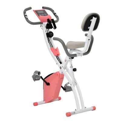 HOMCOM Bicicleta Estática Plegable con Altura y Resistencia Magnética Ajustables con Pantalla LCD y Asiento con Respaldo 52x107x110 cm Rosa