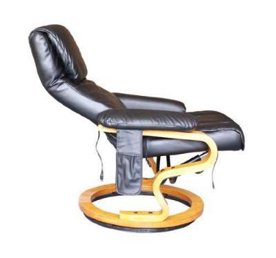 Sofa Cuero Negro Masaje 10 Programas Vibracion  Masaje y Calefaccion + Reposapies LUJO