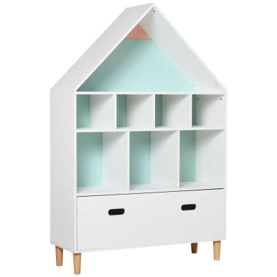 HOMCOM Estantería de Madera Infantil Forma de Casa Librería para Niños con 8 Compartimentos Abiertos y Cajón de 2 Colores 82x30x126 cm Blanco