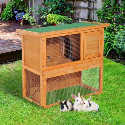 PawHut Conejera Madera Jaula para Conejos o Casa para Animales Pequeños 90x45x80cm Área de Juego