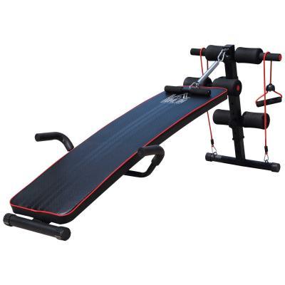 HOMCOM Banco de Abdominales Altura Ajustable de Musculación para Fitness Entrenamiento de Espalda Piernas Carga 120kg con Cuerdas y Tirador de Resorte