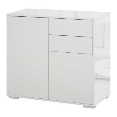 HOMCOM Aparador Auxiliar con 2 Puertas 2 Cajones y Estante Ajustable Apertura a Presión Mueble Organizador de Almacenaje para Dormitorio Salón 79x36x74 cm Blanco