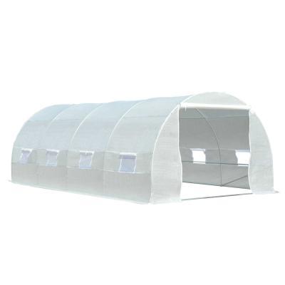 Outsunny Invernadero de Túnel 600x300x200 cm con 8 Ventanas y Cubierta de Polietileno Cultivo de Plantas para Terraza Huerto Blanco