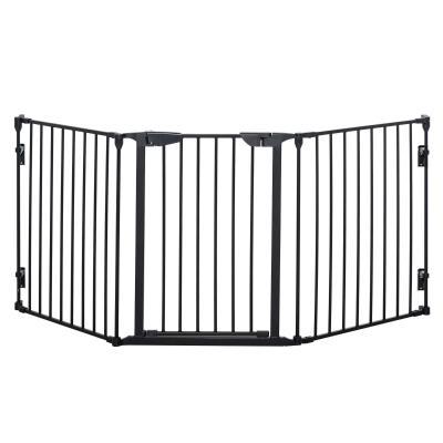 PawHut Barrera de Seguridad para Mascotas Rejilla de Protección Plegable de 3 Paneles con Cierre Inteligente para Escalera Pasillo 180x74,5 cm Negro