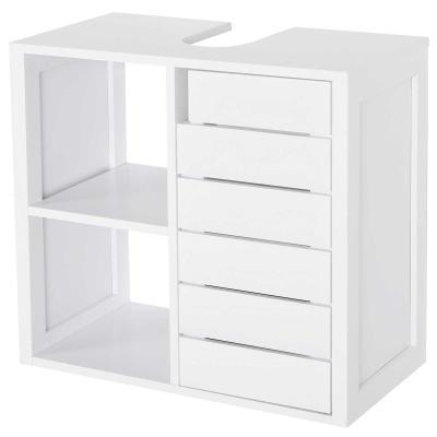 kleankin Mueble Bajo de Lavabo para Baño Suspendido Compacto con 2 Estantes Abiertos y Zona Cerrada 60x30x54 cm Blanco