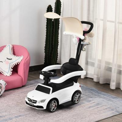 HOMCOM Carrito para Niños Mayores de 1 Año Cochecito Automóvil Diseño 3 en 1 Empujador Andador Función de Bocina 84x40x83 cm Blanco
