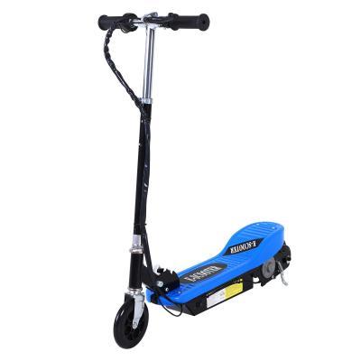 HOMCOM Patinete Plegable Niño Eléctrico tipo Scooter con Manillar Azul Ajustable Freno y Pie de Apoyo 120W Carga 50kg 78x37x99cm