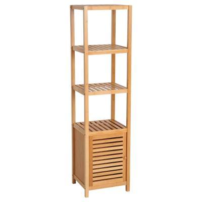 HOMCOM Estantería Bambú para Baño Armario Alto Librería Organizador 36x33x140cm Bambú Natural