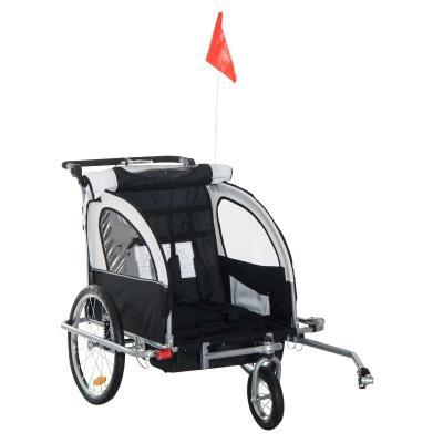 Remolque Infantil Bicicleta 2 PLAZAS Kit Footing Rueda 360º Amortiguadores y Barra Azul y Blanco
