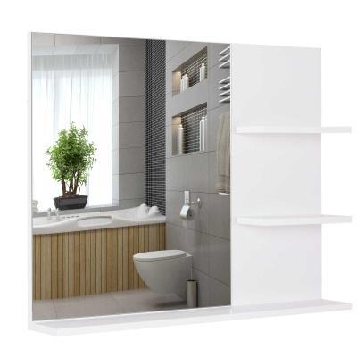 kleankin Espejo de Baño Espejo de Pared Espejo con 3 Estantes Incorporados 60x10x48 cm Blanco