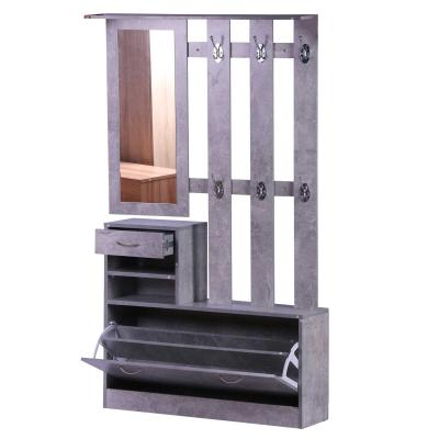 HomCom® Conjunto de Muebles de Entrada Recibidor Pasillo Set de 3 Piezas Perchero Espejo Zapatero con Cajón 90x22x116cm