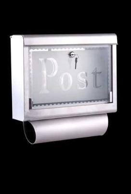 Buzón Cartas Correo Acero Inoxidable con Soporte Periódico 40x10x38 cm y llaves