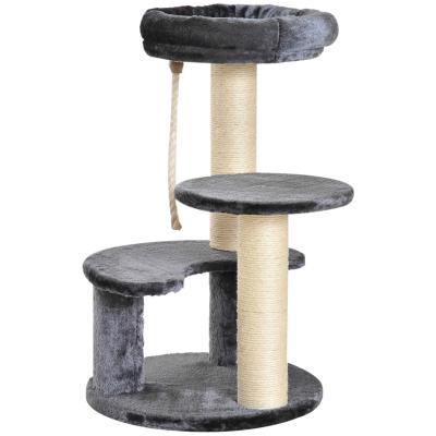 PawHut Árbol Rascador para Gato con 3 niveles y Cuerda Colgante Plataformas en Felpa y Postes con Cuerda de Sisal Natural 40x65cm(DxAl) Gris