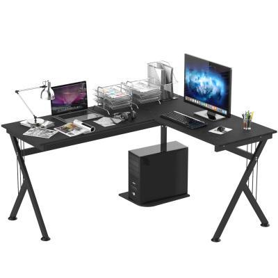 HOMCOM Mesa de Ordenador PC de Tabla de Madera Mesa Esquinera de Angulo para Oficina Dormitorio Hogar y  Escuela 155x130x76cm Madera Negro