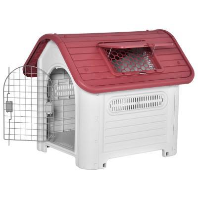 PawHut Caseta para Perro con Puerta Extraíble Base Elevada 3 Respiraderos y Ventana Abrible Caseta de Perros para Interior y Exterior 72x87x75 cm Gris Rojo