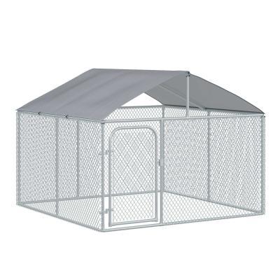PawHut Perrera de Exterior con Toldo Jaula para Perros Mascotas de Metal Galvanizado con Cerradura para Jardín Patio 230x230x172 cm Plata