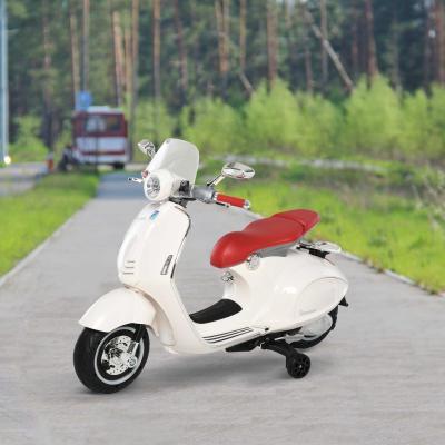 HomCom® Moto Eléctrica Vespa Faros Música 2 Ruedas Auxiliares para Niños Mayores de 3 Años Motocicleta Infantil Autorizada 108x49x75 cm Blanco