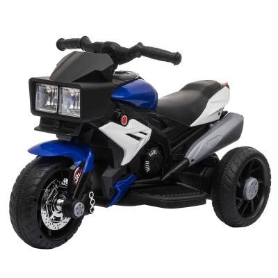 HOMCOM Moto Eléctrica Infantil con 3 Ruedas para +3 Años Triciclo con Pedal para Niños Batería 6V con Luces Música Neumáticos Anchos Velocidad 3 km/h 86x42x52 cm Azul y Negro