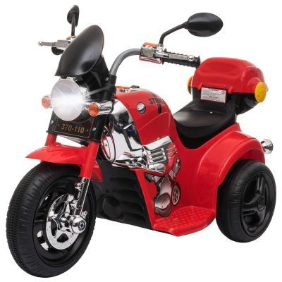HOMCOM Moto Triciclo Eléctrico para Niños de +3 Años Moto Eléctrica Infantil con 3 Ruedas Batería 6V con Botón de Música 87x46x54 cm Rojo