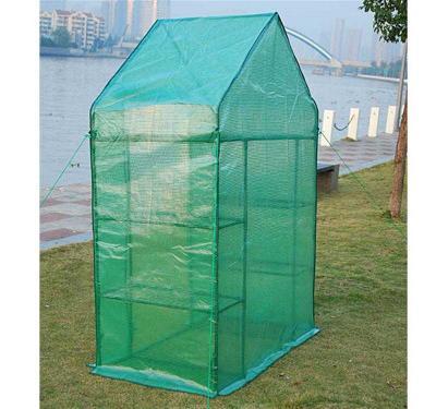 Invernadero Caseta de Tubo Acero y Plastico Jardin Terraza Cultivo de Plantas