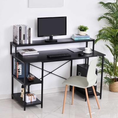 HOMCOM Mesa para Computadora Escritorio de Oficina con 3 Estantes Tabla Superior Patas con Almohadillas Ajustables Antideslizantes Metal 140x60x93 cm