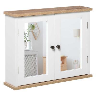 kleankin Armario de Baño de Pared con Espejo 2 Puertas Estante Ajustable en 3 Posiciones Espacio de Almacenaje para Cocina Medicinas 56x14x46 cm Blanco