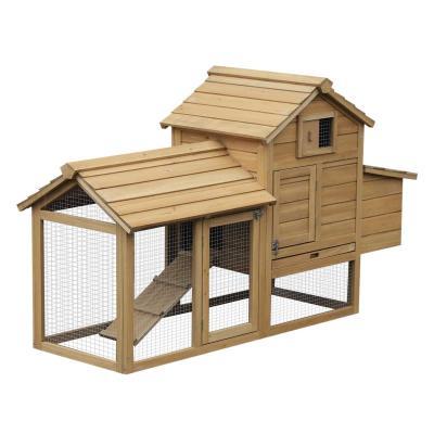 PawHut Gallinero Compacto para Exterior con Zona Exterior Caseta con Ventana Rampa y Bandeja Extraíble 150.5x54x87 cm Madera de Abeto
