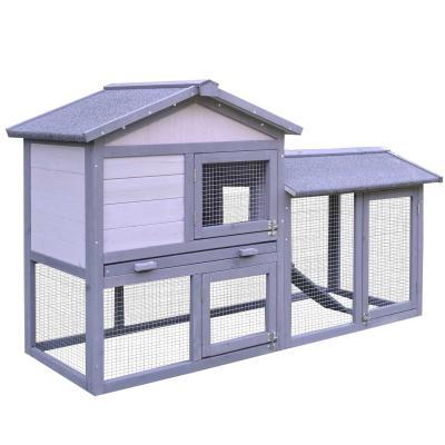 PawHut® Conejera Madera de Exterior Jaula para Conejo Cobaya Bandeja Extraíble Casa para Animal Pequeño