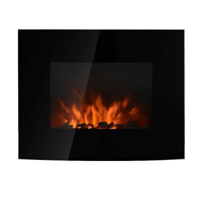 HOMCOM Chimenea Eléctrica de Pared Estufa Eléctrica Calentador de Fuego 900/1800W con Mando a Distancia Termostato Llama LED 7 Colores