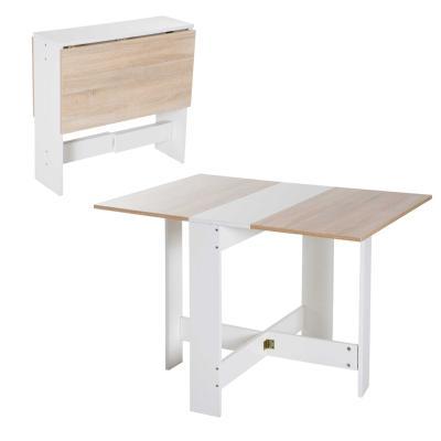 HOMCOM Mesa de Comedor Plegable Mesa Extensible Cocina Salón Mesa Auxiliar con 2 Alas Abatibles Ahorra Espacio Diseño Moderno 103x76x73,5cm Madera