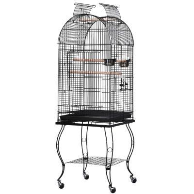 PawHut Jaula para Pájaros con Soporte y Ruedas Jaula Grande de Metal con Bandeja Extraíble y 2 Comederos para Loros Guacamayos 53x53x153 cm Negro