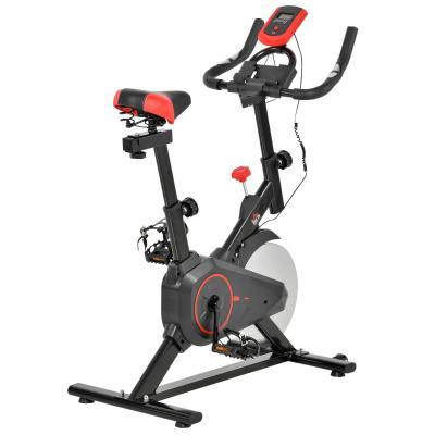 HOMCOM Bicicleta Estática Spinning con Pantalla LCD Volante de Inercia de 6kg Sillín y Manillar Ajustables en Altura y Resistencia Regulable 85x46x114 cm Negro y Rojo