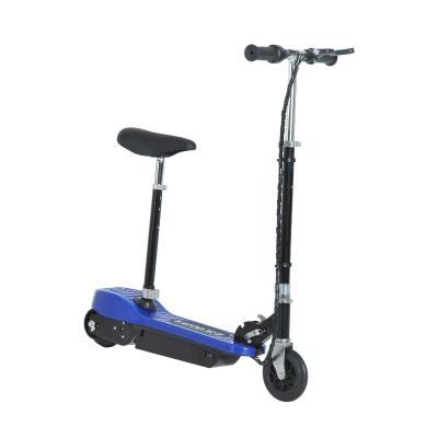 HOMCOM Patinete Eléctrico para Niño Scooter Plegable Azul Plegable Batería 120W Manillar Asiento Ajustable Freno Pie de Apoyo para Adolescentes