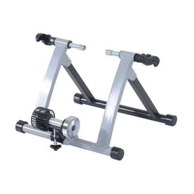 HOMCOM rodillo magnetico para Bicicleta Plegable de Acero Entrenamiento Capacidad Máx. 135 kg 54.5x47.2x39.1cm Plateado
