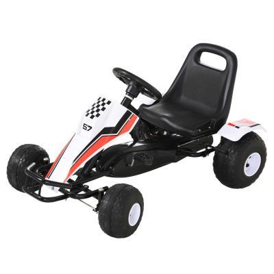 HOMCOM Go Kart a Pedales para Niños de +3 Años Coche de Pedales Infantil con Asiento Ajustable y Freno de Mano 104x66x57 cm Blanco y Negro