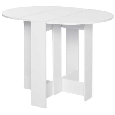 HOMCOM Mesa Plegable con 2 Alas Abatibles Mesa Auxiliar de Madera para Comedor Cocina Salón 104x76x73,7 cm Blanco