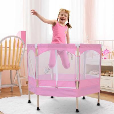 HOMCOM Trampolín Infantil Cama Elástica para Niños de 3-12 Años Jardín Traspatio con Red de Seguridad Carga 50kg 126x109x98cm Rosa