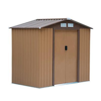 Outsunny Caseta de Jardín Tipo Cobertizo de Exterior de Acero con Puerta Corrediza y Ventilación para Almacenaje de Herramientas  213x130x185 cm Caqui