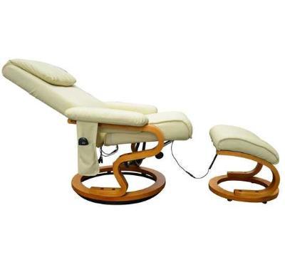 Sofa Cuero 10 Programas Vibracion  Masaje y Calefaccion + Reposapies color Crema