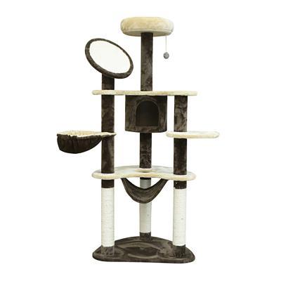 PawHut Rascador para Gatos 153x65x50 cm Árbol para Arañar Poste Centro de Actividades Gato Color Marrón