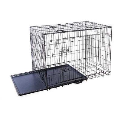PawHut Jaula para Perros Negro Hierro Plástico 122 x 76 x 84cm