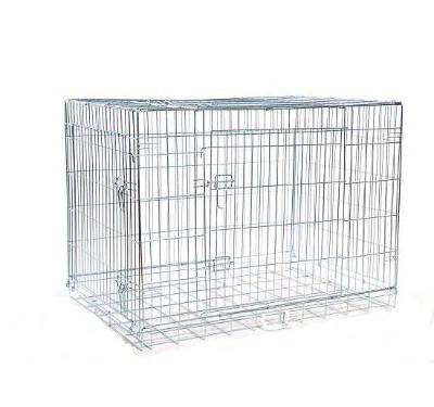 PawHut Jaula de Transporte para Perro Negro Plata Hierro Plastico 122x76x84cm