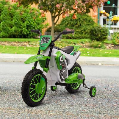 HOMCOM Moto Eléctrica para Niños de +3 Años 12V Moto de Juguete Infantil con 2 Ruedas de Equilibrio Velocidad Máx. 8 km/h Arranque Suave 106,5x51,5x68 cm Verde