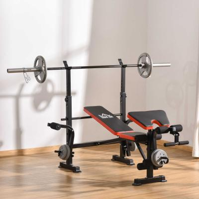 HOMCOM Banco de Pesas Multifuncional Banco de Musculación con Respaldo Ajustable Soporte de Barras para Fitness Entrenamiento Completo 105x150x112 cm Negro