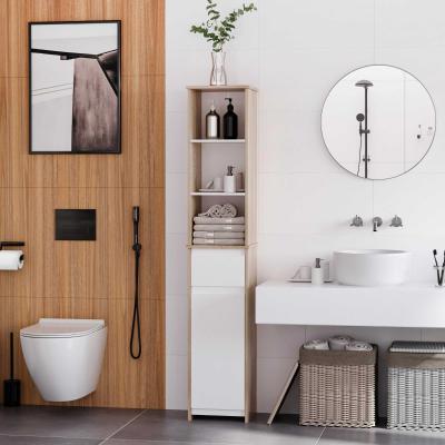 kleankin Armario Alto de Baño Mueble Columna de Baño con 1 Puerta Cajón y 3 Estantes Balda Ajustable para Cocina Salón 32,6x30x171,2 cm Madera Natural y Blanco