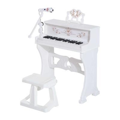 HOMCOM Piano Electrónico Infantil 37 Teclas con Micrófono Taburete 22 Canciones Blanco
