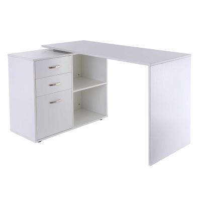 HOMCOM Mesa de Ordenador con 2 Estantes y 3 Cajones Escritorio 2 Posiciones en Forma L y Recto Blanco