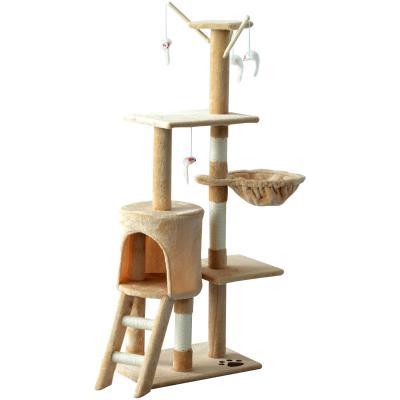 PawHut Árbol para gatos Rascador Grande con Nidos Plataformas Casetas Ratón de Juego 50x35x134,2 cm Cubierto de Felpa Beige