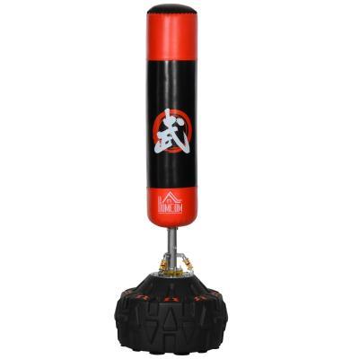 HOMCOM Saco de Boxeo soporte saco boxeo suelo para Adultos Base Grande Rellenable de Arena 60 kg / Agua 50 kg Φ60x180cm Negro y Rojo